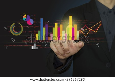 Business point graph financial on board monitor. - stock photo