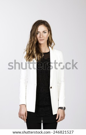 Business Portrait of Pretty Blond Woman Wearing White Elegant Long Sleeve Blazer on white Background - stock photo