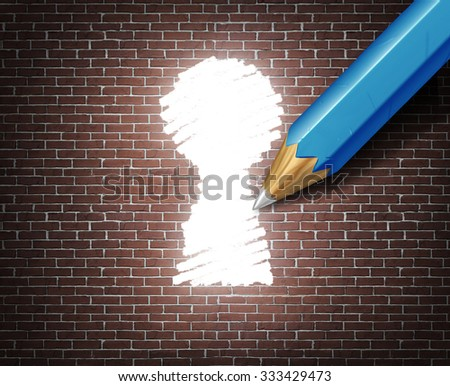 Business possibility idea concept as a white tipped pencil drawing a keyhole shape on a brick wall as an access to opportunity metaphor for finding a way to business success through creative ideas. - stock photo