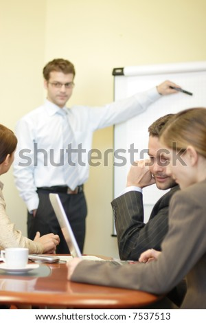 business presentation at the group meeting - stock photo