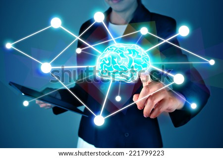 Business press brain symbol - stock photo