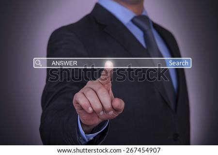 Business Pressing Answer Search Button - stock photo