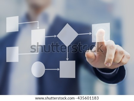 Business process and workflow automation with flowchart, businessman in background - stock photo