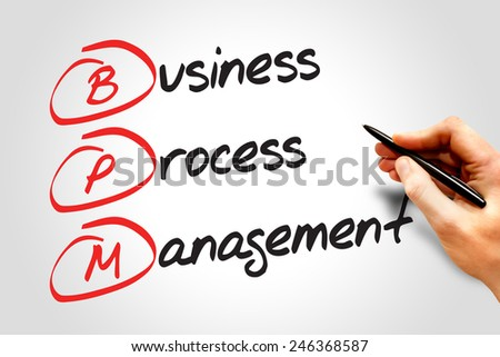 Business process management (BPM), business concept acronym - stock photo