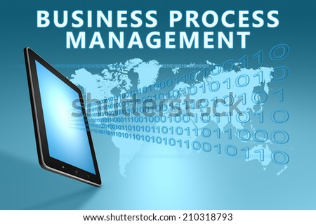 Business Process Management illustration with tablet computer on blue background - stock photo