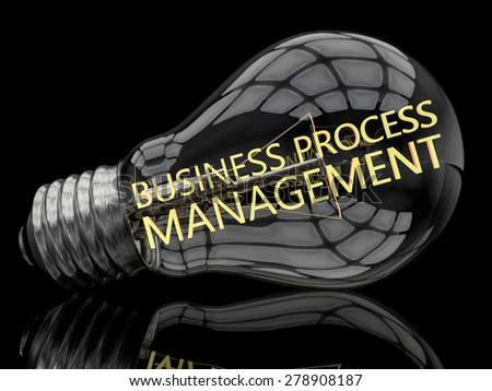Business Process Management - lightbulb on black background with text in it. 3d render illustration. - stock photo