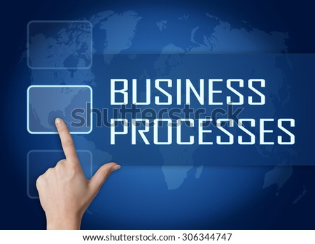 Business Processes concept with interface and world map on blue background - stock photo