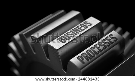 Business Processes on the Metal Gears on Black Background.  - stock photo