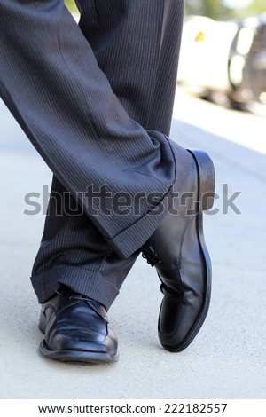 Business Professional Business Man Shoes and Slacks Dress Pants Black - stock photo