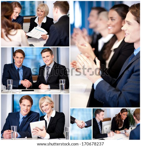 Business professionals conducting a meeting - stock photo