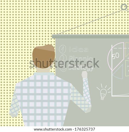Business project Startup strategy Businessman making office presentation development and launch a new innovation product on a market concept Flat design  - stock photo