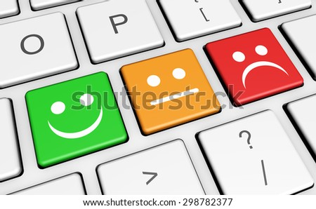 Business quality service customer feedback, rating and survey keys with smiling face symbol and icon on computer keyboard. - stock photo