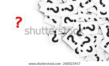 Business questions concept with a red question mark symbol on a note paper and a multitude of question marks signs on scattered white note papers. - stock photo