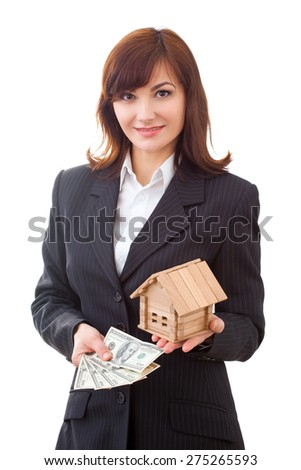 business, real estate and banking concept - smiling businesswoman with money and house - stock photo