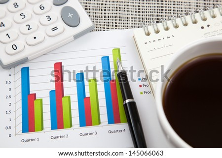 Business report and Financial graphs analysis - stock photo
