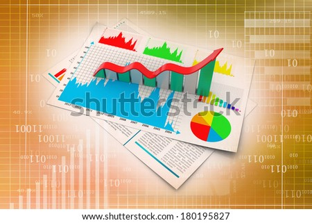 Business report and growth graph - stock photo