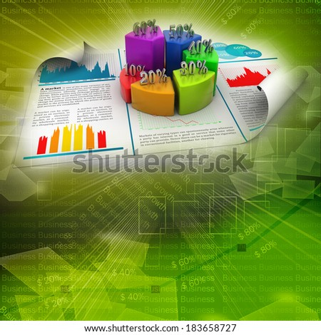 Business report and pie chart with growth percentage - stock photo