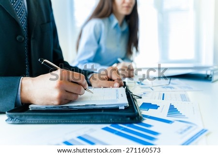 Business, report, executive. - stock photo