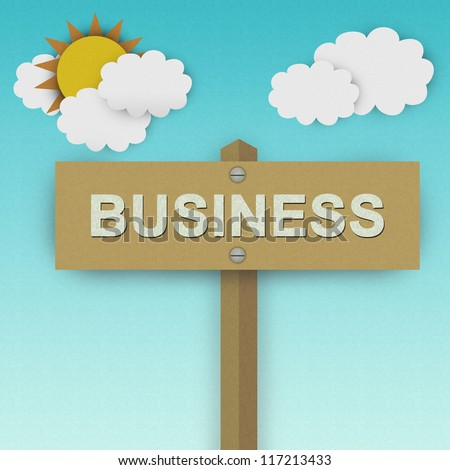 Business Road Sign For Business Solution Concept Made From Recycle Paper With Beautiful Sun and White Cloud in Blue Sky Background - stock photo