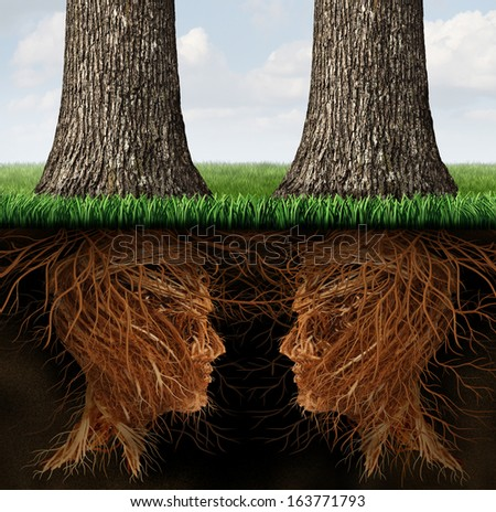 Business roots concept as a partnership relationship of two growing trees with their root system in a human head shape as a metaphor for teamwork contract and agreement through communication network. - stock photo