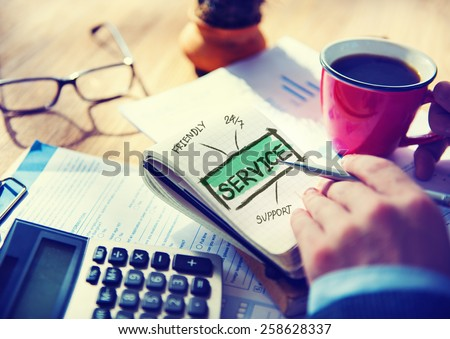 Business Service Customer Support Office Working Concept - stock photo