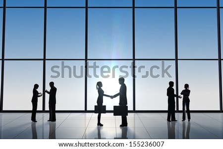 Business  shake hand  silhouettes rendered with computer graphic 3d. - stock photo