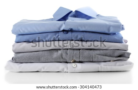 Business shirts, isolated on white - stock photo