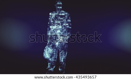 Business Silhouettes In a Digital Environment Made In Computer Graphics 3D rendering - stock photo