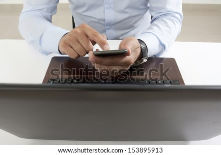 business situation in the office, front view - stock photo
