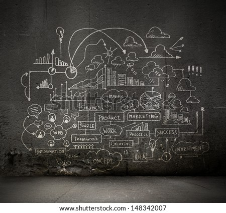 Business sketch ideas against dark wall background - stock photo