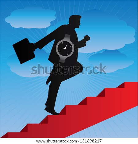Business Solution and Time Management Concept Present By The Businessman With Time Watch Walking Upstairs for Best Vision in His Business in Blue Sky Background - stock photo