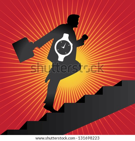 Business Solution and Time Management Concept Present By The Businessman With Time Watch Walking Upstairs for Best Vision in His Business in Red Shiny Background - stock photo