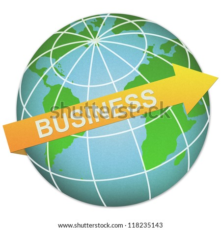 Business Solution Concept Present By Business Arrow and The Globe Made From Recycle Paper Isolated On White Background - stock photo