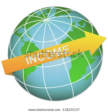 Business Solution Concept Present By Income Arrow and The Globe Made From Recycle Paper Isolated On White Background - stock photo