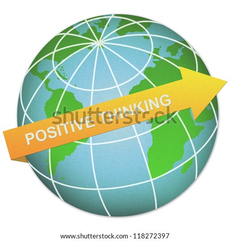 Business Solution Concept Present By Positive Thinking Arrow and The Globe Made From Recycle Paper Isolated On White Background - stock photo