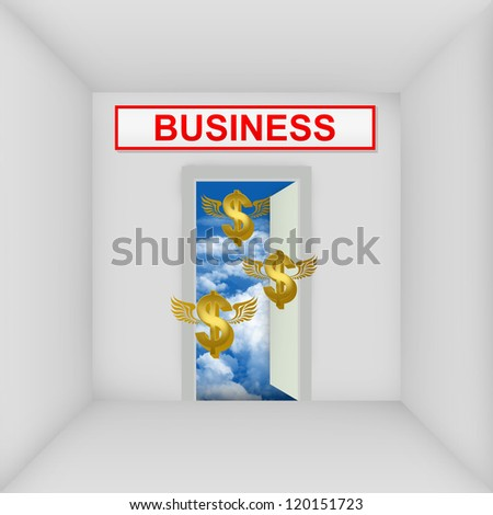 Business Solution Concept Present By The White Room With Business Door Open to The Blue Sky With Flying Golden Dollar Currency Sign - stock photo