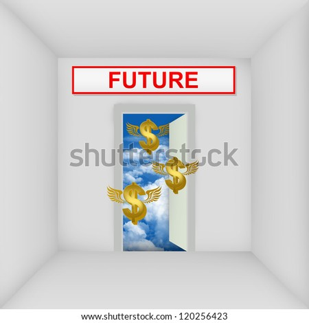 Business Solution Concept Present By The White Room With Future Door Open to The Blue Sky With Flying Golden Dollar Currency Sign - stock photo