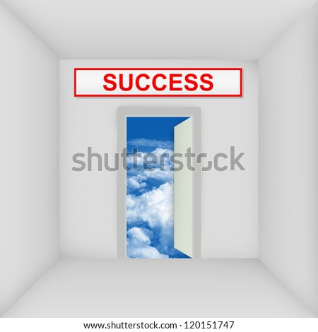 Business Solution Concept Present By The White Room With Success Door Open to The Blue Sky - stock photo
