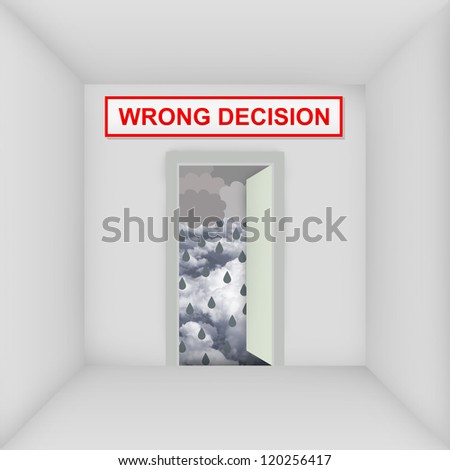 Business Solution Concept Present By The White Room With Wrong Decision Door Open to The Rainstorm - stock photo