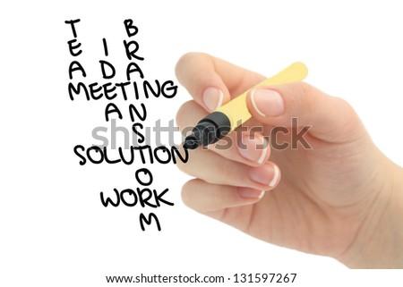 business solution crossword - stock photo