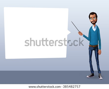 Business speech near flip chart. Presentation of business product, project, report at conference. Man in shirt tells the story. Storytelling and set of characters. Cloud technologies and services - stock photo