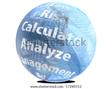 Business Sphere with financial words - stock photo