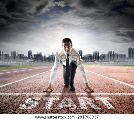 business start - businessman ready for competition  - stock photo