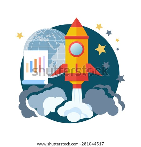 Business start up idea template. Start up rocket idea icon. New business project start up, launching new product or service in flat design. Raster version - stock photo
