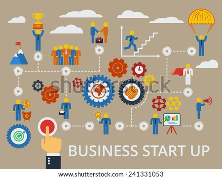 Business start up template. Scheme with humans, icons and gears. - stock photo