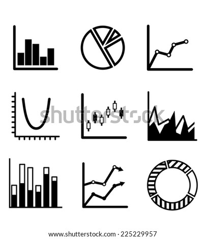 Business statistical charts and graphs with a pie graph, bar graphs, arrow graphs and flow chart showing various performance trends - stock photo