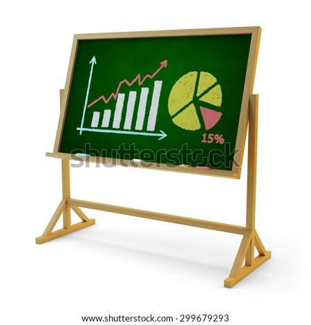 Business statistics accounting and financial report presentation concept, green chalkboard with graphic, bar chart and pie diagram drawn on it isolated on white background - stock photo