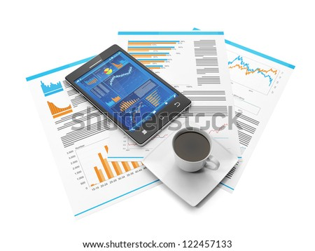 Business Statistics on your mobile phone. Mobile phone and business pages with a cup of coffee - stock photo