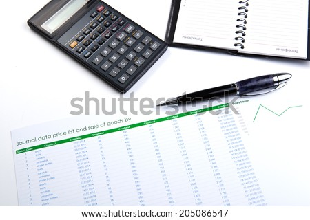 business still-life with banknotes and calculator closeup - stock photo