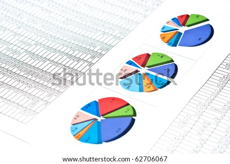 Business still-life with diagrams, charts and numbers - stock photo